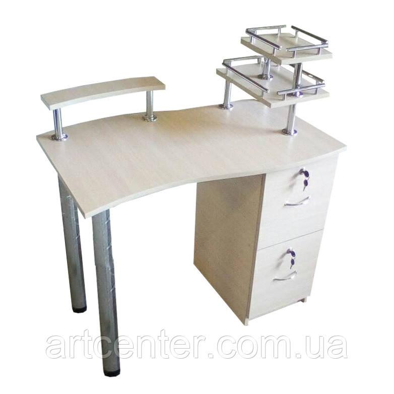 Манікюрний стіл з висувними ящиками і поличкою для лаків