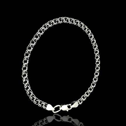 Серебряный браслет, 225мм, 6 грамм, плетение  Бисмарк, фото 2