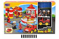 """Конструктор з великими деталями """"Пожежна частина"""" (коробка, 54дет.) 3805 р.53*35*9см."""