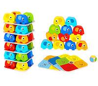 Обучающая деревянная настольная игра башня Слоники для детей