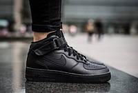 Кроссовки мужские в стиле Nike Air Force Black (Реплика ААА+), фото 1