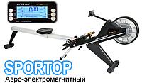 Профессиональный гребной тренажер Sportop R700+ Аэро-электромагнитный, для спортзала