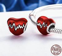 Браслет серебряный с кулоном аналог (Pandora) - сердце, CTK Lolita 100