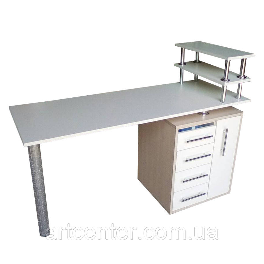 """Манікюрний стіл з УФ лампою бактерицидної, ящиком """"карго"""" і поличкою для лаків"""