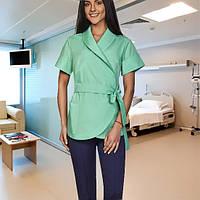 Медицинский женский костюм на запах много цветов 42р-60р х/б  Жанна