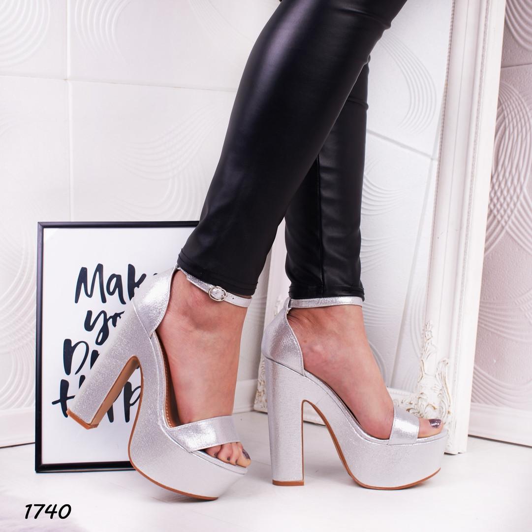 e71ed9544 Босоножки с ремешком на высоком каблуке и платформе серебро - Интернет  магазин Обувной Пассаж в Киеве