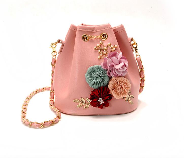 Сумка жіноча через плече з квітами Flowers Рожевий
