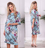 Весеннее цветочное  батальное платье. 2 цвета!, фото 1