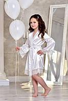 Белый атласный халат для девочки