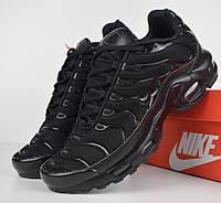 Женские кроссовки в стиле Nike AIr Max Tn+ plus черные. Живое фото bf88af6c6ed07