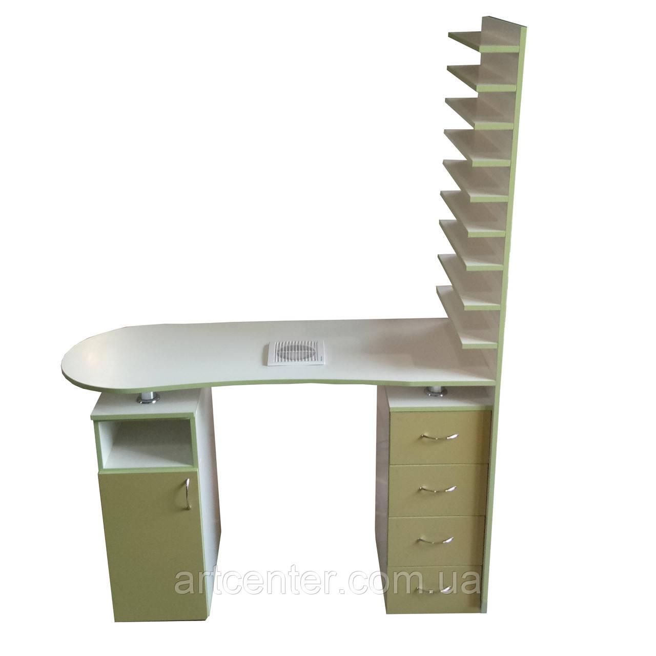 Стол для маникюра двухтумбовый с выдвижными ящиками и полкой для лаков