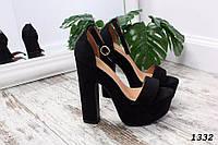 Черные женские босоножки на высоком каблуке 13 см эко-замш