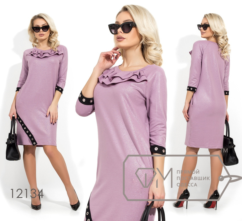 Платье прямого кроя из двунитки с напылением, Фабрика моды раз. 42,44,46