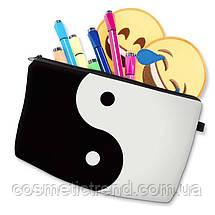 Косметичка женская для сумки черно-белая ИНЬ-ЯН 18(22)*13.5 см, фото 3