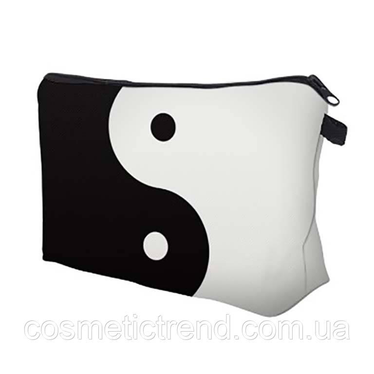 Косметичка женская для сумки черно-белая ИНЬ-ЯН 18(22)*13.5 см