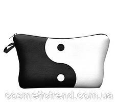 Косметичка женская для сумки черно-белая ИНЬ-ЯН 18(22)*13.5 см, фото 2