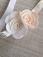Повязка на голову розы белая розовая пудра ручной работы