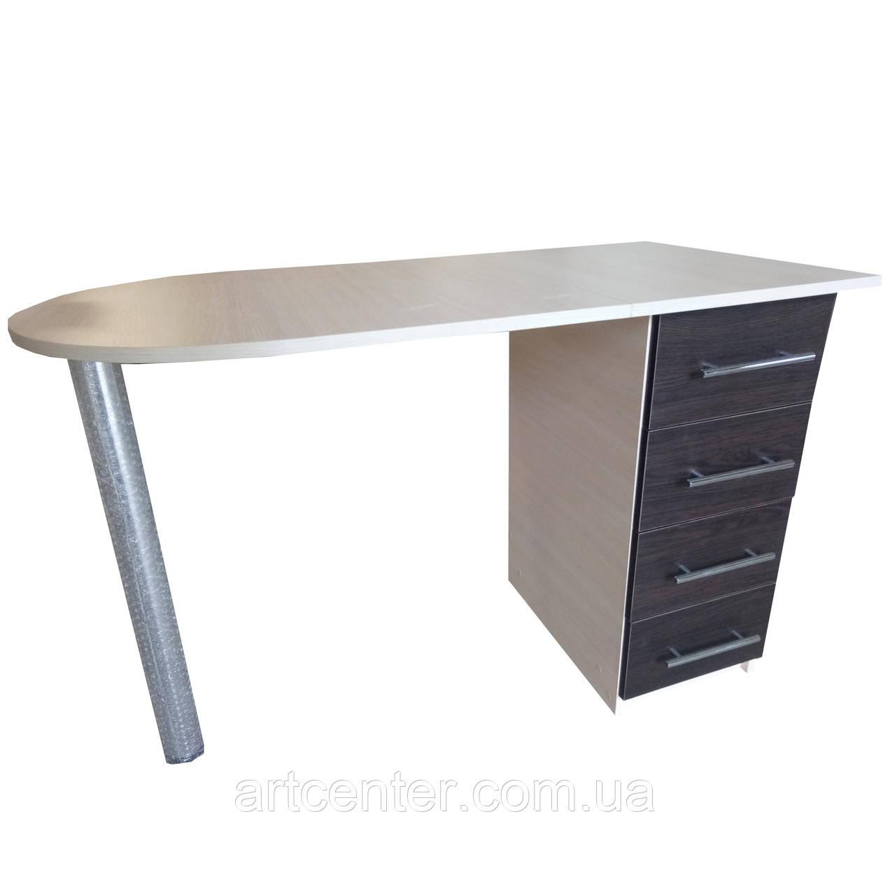 Маникюрный стол комбинированных цветов со складной столешницей на ножке