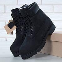 Зимние женские ботинки Timberland 6 inch black с мехом (Реплика ААА+) ccee5bada0ac8