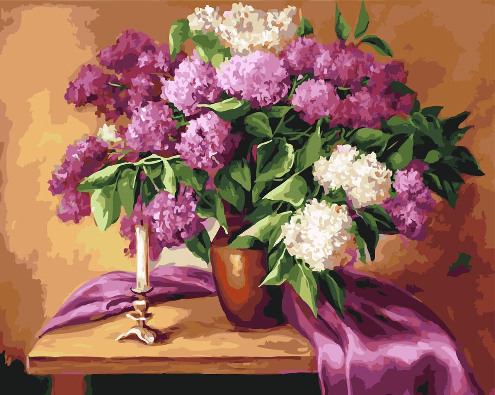 Картина по номерам Сирень в глиняной вазе, 40x50 см., Rainbow art