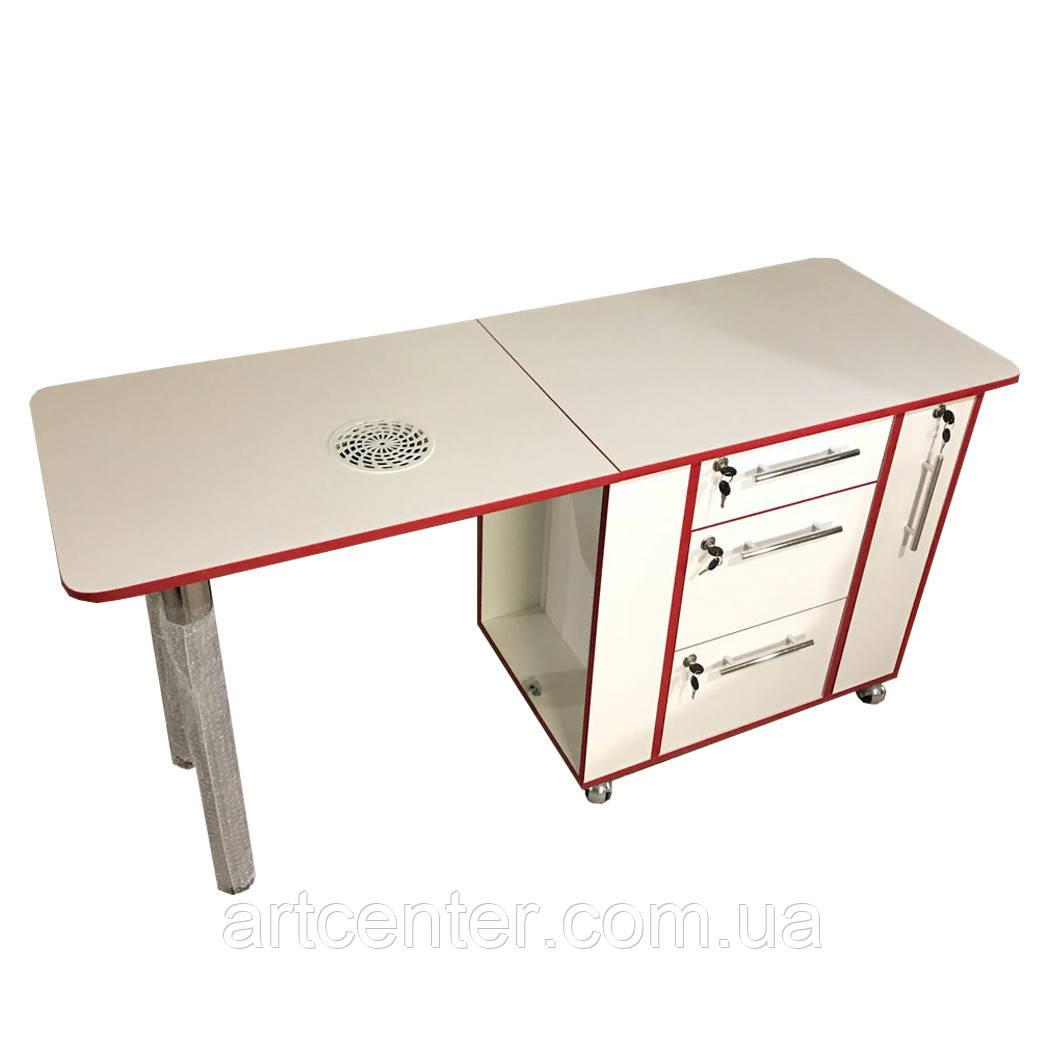 """Маникюрный стол белый с красной кромкой с ящиком """"карго"""" и выдвижными ящиками"""