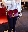 Сумка женская через плечо с кисточками Бордовый, фото 3