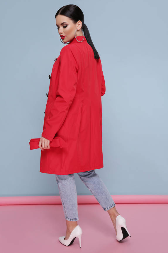 Яркий весенний женский плащ с поясом красный, фото 2