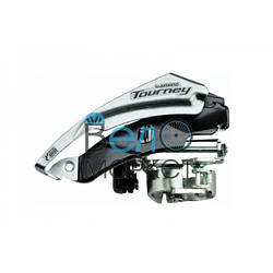 Передний переключатель Shimano Tourney FD-TY500 универсальная тяга, 6/7 скоростей, диаметр хомута 28.6/34.9