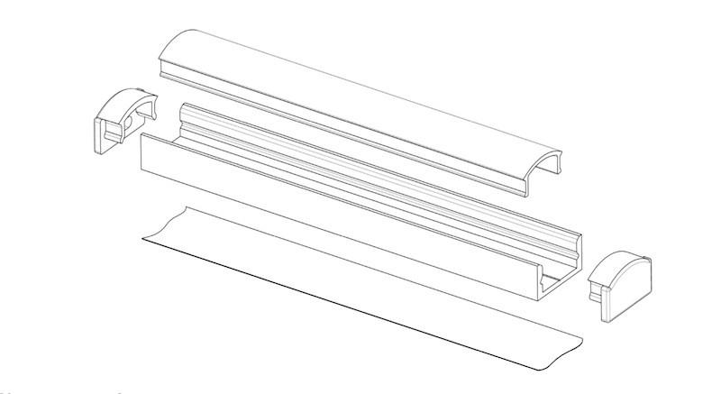 Светильник LED профиль мебельный LP7BT, алюминий, цвет свечения - теплый белый