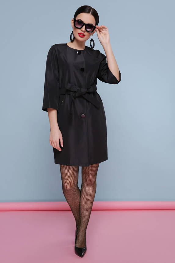 Модный женский черный плащ с рукавом 3/4 демисезонный, фото 2