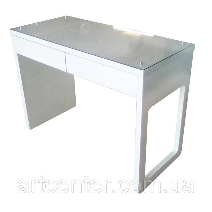 Маникюрный стол на два выдвижных ящика, со стеклянной столешницей, офисный стол
