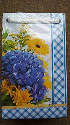 Подарочный бумажный пакет МИНИ ''Цветы синие'' 8*12*3.5 см