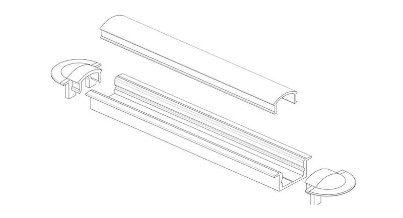 Светильник LED профиль мебельный LPV7BX, алюминий, цвет свечения - холодный белый