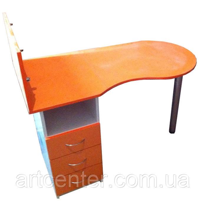 Маникюрный стол с выдвижными ящиками, стеклянной полочкой для лаков