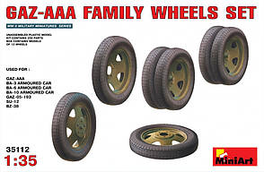 Набор колес для семейства автомобилей ГАЗ-ААА. 1/35 MINIART 35112