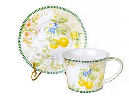 Чашка с блюдцем фарфоровая, чайная пара Лимон 924-368