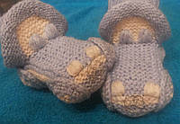 """Пинетки-носки ручной работы """"Машинка"""" для малышей 12 -14 см."""