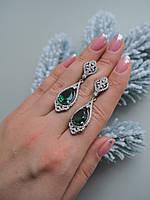 Серьги с зеленым цирконием, фото 1