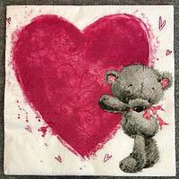 """№ 69 Салфетка для декупажа или сервировки стола """"Мишка с большим сердцем"""""""