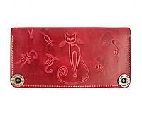 Кошелек кожаный, бумажник, женский Gato Negro Catswill Red ручной работы