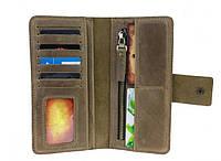 """Шкіряний портмоне """"Working"""" ручної роботи, натуральна шкіра, на кнопках магнітах, клатч, гаманець"""