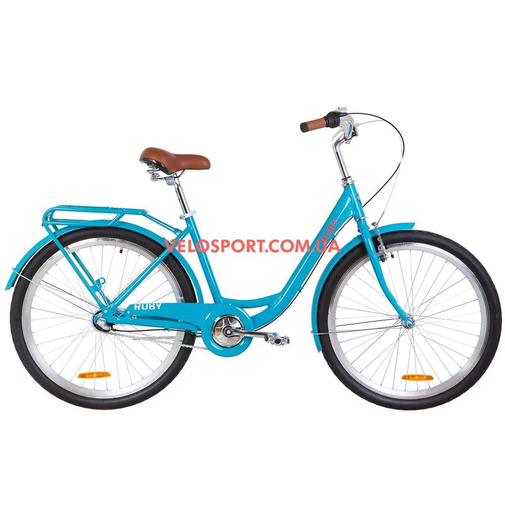 Городской велосипед Dorozhnik Ruby PH 26 дюймов лазурный