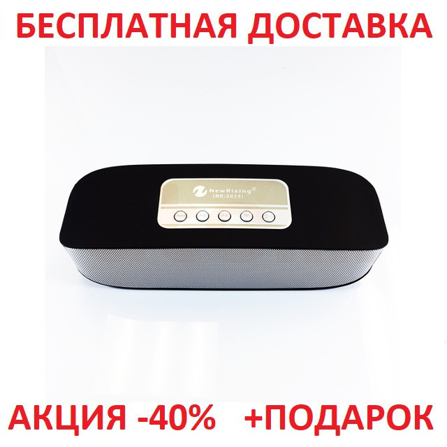 Портативная переносная колонка New Rixing NR-2014 2*3W Bluetooth BLACK акустика беспроводная мобильная