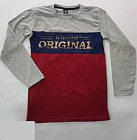 Батник для мальчика на 6-12 лет серого с бордовым цвета с надписью оптом a700baa1b8bc5