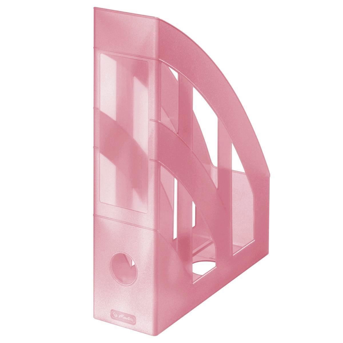 Лоток для бумаг вертикальный Herlitz 7.5см Pastel Rose прозрачный розовый