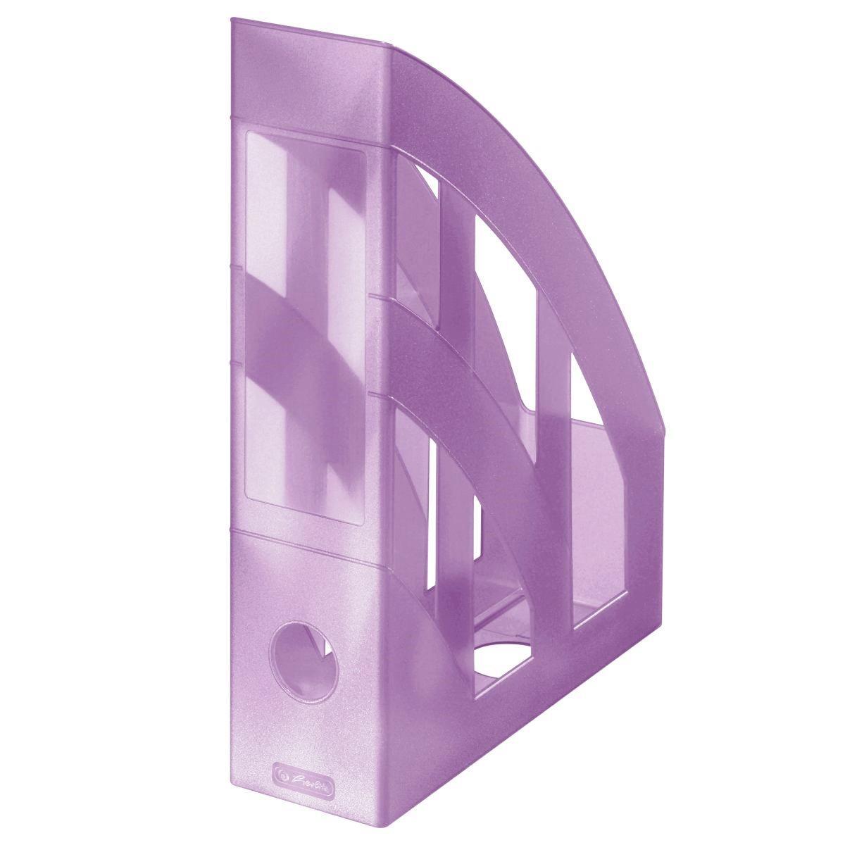 Лоток для бумаг вертикальный Herlitz 7.5см Pastel Lilac прозрачный сиреневый