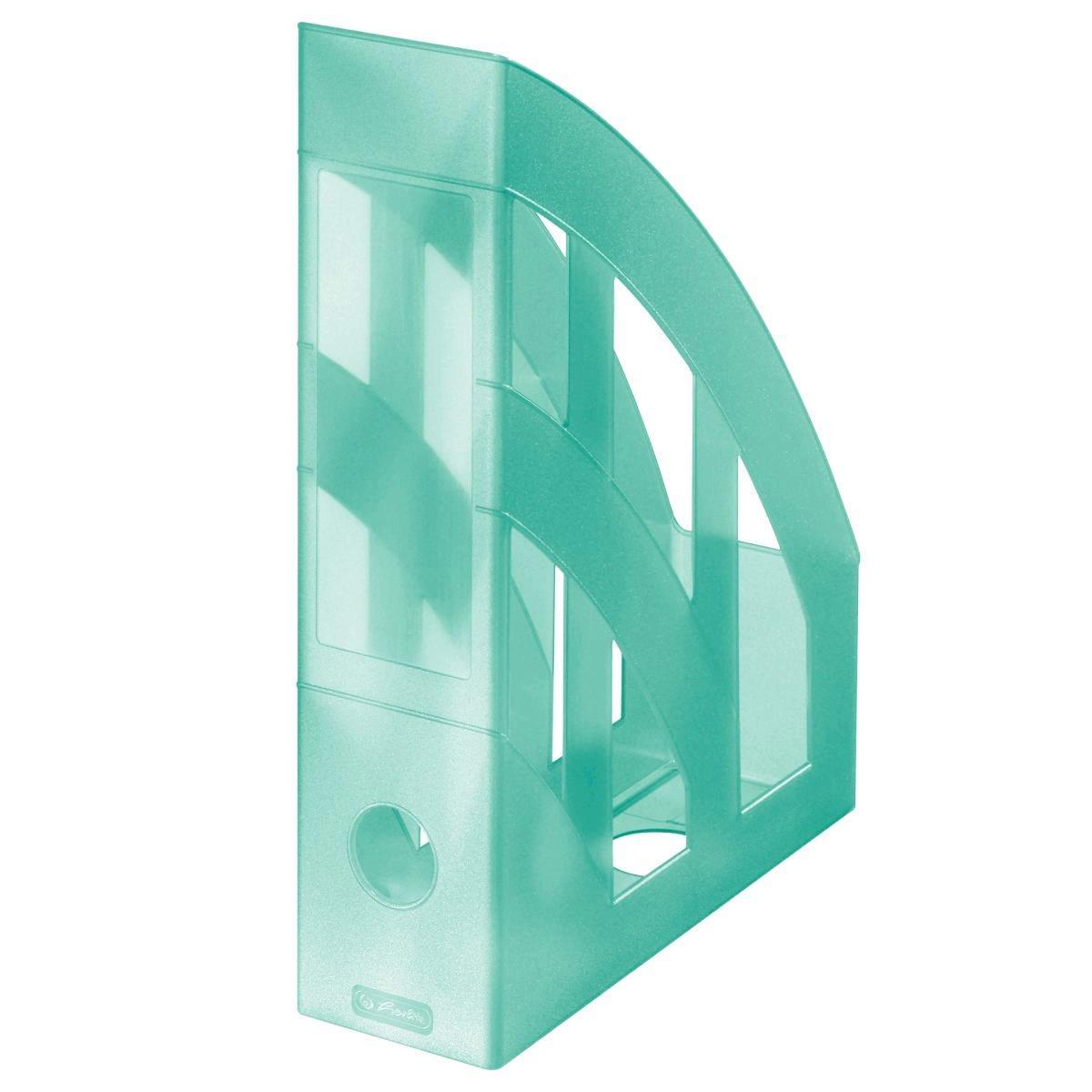 Лоток для бумаг вертикальный Herlitz 7.5см Pastel Mint прозрачный мятный