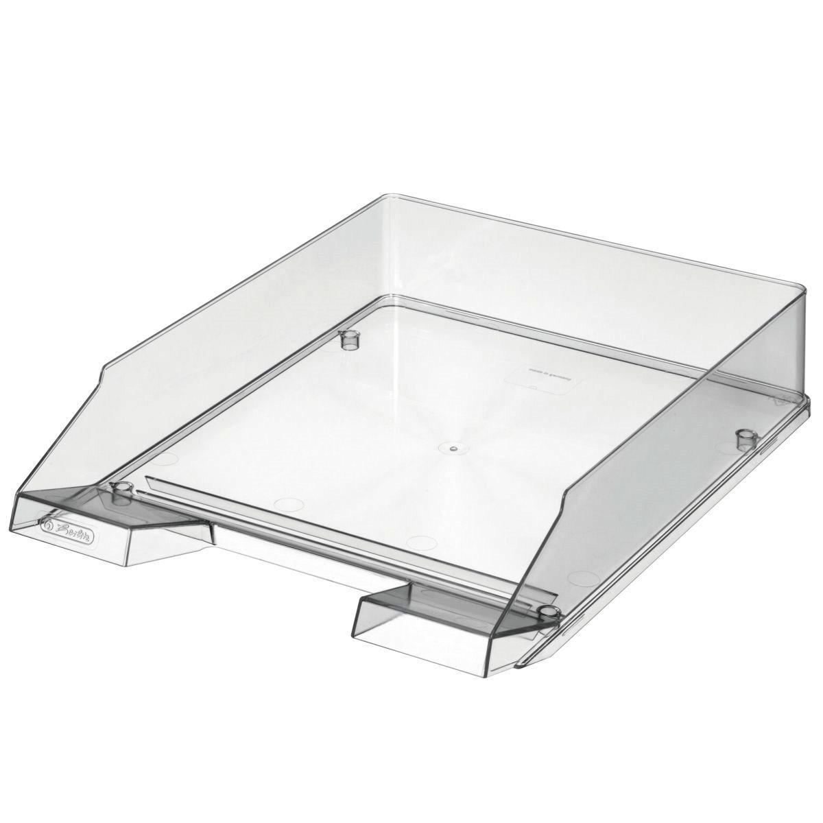 Лоток для бумаг горизонтальный Herlitz Premium глянцевый прозрачный
