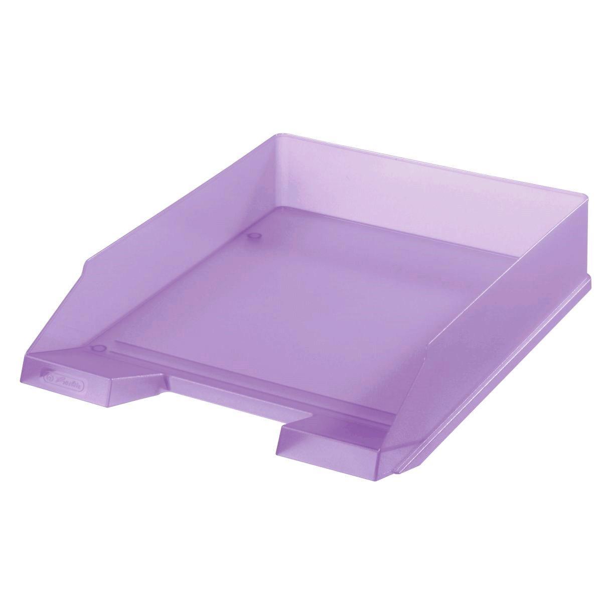 Лоток для бумаг горизонтальный Herlitz Pastel Lilac прозрачный сиреневый