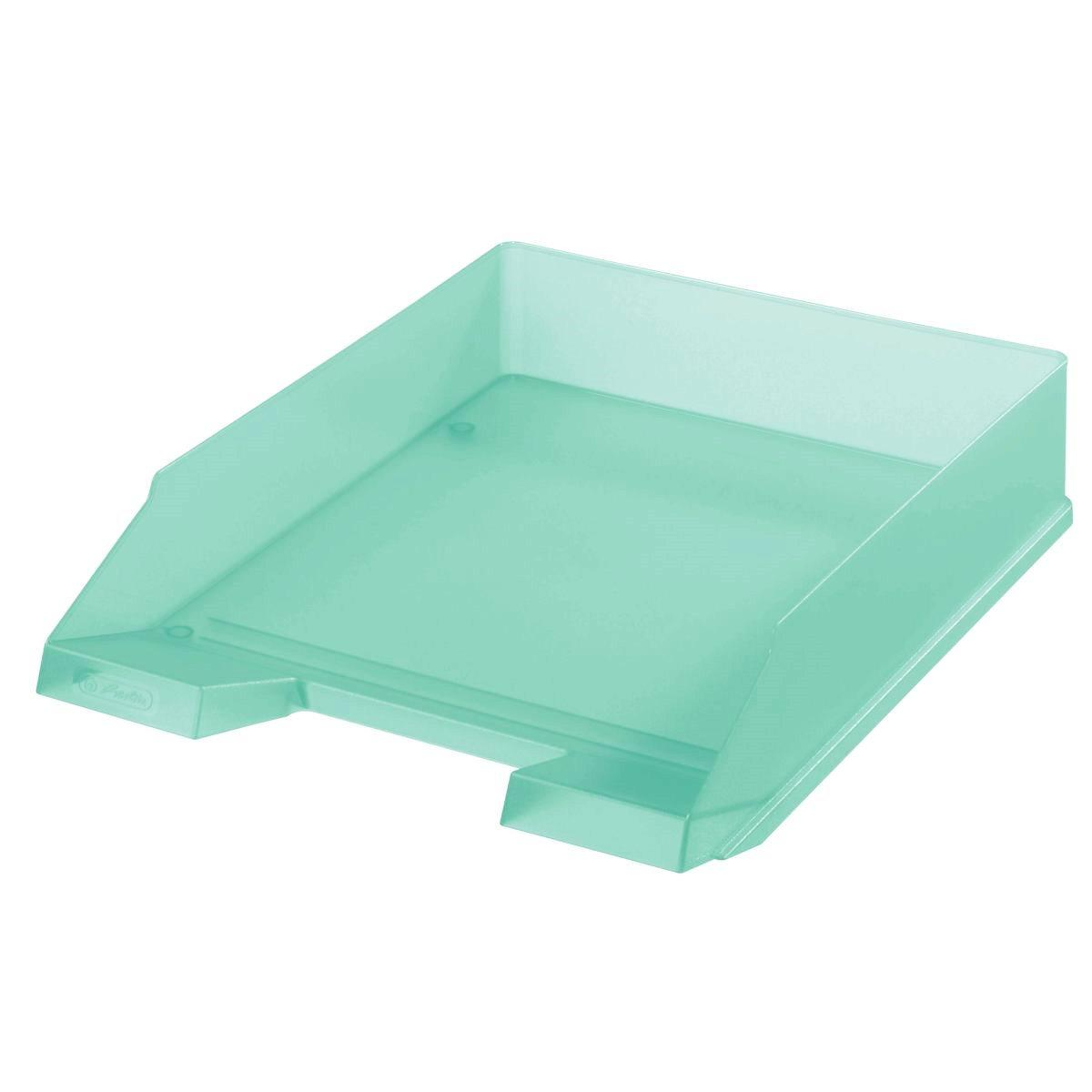 Лоток для бумаг горизонтальный Herlitz Pastel Mint прозрачный мятный